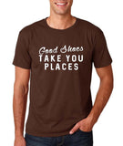 "Good shoes take you places Mens T Shirts White-T Shirts-Gildan-Dk Chocolate-S To Fit Chest 36-38"" (91-96cm)-Daataadirect"