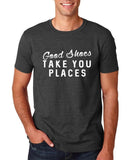 "Good shoes take you places Mens T Shirts White-T Shirts-Gildan-Dk Heather-S To Fit Chest 36-38"" (91-96cm)-Daataadirect"