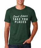 "Good shoes take you places Mens T Shirts White-T Shirts-Gildan-Forest Green-S To Fit Chest 36-38"" (91-96cm)-Daataadirect"