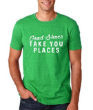 "Good shoes take you places Mens T Shirts White-T Shirts-Gildan-Heather Irish Green-S To Fit Chest 36-38"" (91-96cm)-Daataadirect"