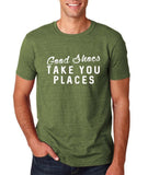"Good shoes take you places Mens T Shirts White-T Shirts-Gildan-Heather Military Green-S To Fit Chest 36-38"" (91-96cm)-Daataadirect"