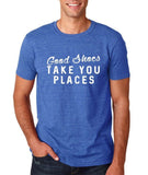 "Good shoes take you places Mens T Shirts White-T Shirts-Gildan-Heather Royal-S To Fit Chest 36-38"" (91-96cm)-Daataadirect"