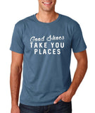 "Good shoes take you places Mens T Shirts White-T Shirts-Gildan-Indigo Blue-S To Fit Chest 36-38"" (91-96cm)-Daataadirect"