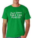 "Good shoes take you places Mens T Shirts White-T Shirts-Gildan-Irish Green-S To Fit Chest 36-38"" (91-96cm)-Daataadirect"