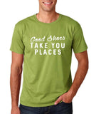 "Good shoes take you places Mens T Shirts White-T Shirts-Gildan-Kiwi-S To Fit Chest 36-38"" (91-96cm)-Daataadirect"
