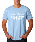 "Good shoes take you places Mens T Shirts White-T Shirts-Gildan-Light Blue-S To Fit Chest 36-38"" (91-96cm)-Daataadirect"