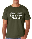 "Good shoes take you places Mens T Shirts White-T Shirts-Gildan-Military Green-S To Fit Chest 36-38"" (91-96cm)-Daataadirect"