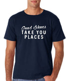 "Good shoes take you places Mens T Shirts White-T Shirts-Gildan-Navy Blue-S To Fit Chest 36-38"" (91-96cm)-Daataadirect"