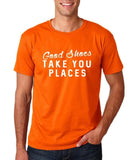 "Good shoes take you places Mens T Shirts White-T Shirts-Gildan-Orange-S To Fit Chest 36-38"" (91-96cm)-Daataadirect"