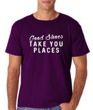 "Good shoes take you places Mens T Shirts White-T Shirts-Gildan-Purple-S To Fit Chest 36-38"" (91-96cm)-Daataadirect"