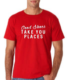 "Good shoes take you places Mens T Shirts White-T Shirts-Gildan-Red-S To Fit Chest 36-38"" (91-96cm)-Daataadirect"