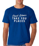 "Good shoes take you places Mens T Shirts White-T Shirts-Gildan-Royal Blue-S To Fit Chest 36-38"" (91-96cm)-Daataadirect"