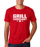 "Grill Sergeant White mens T Shirt-T Shirts-Gildan-Cherry Red-S To Fit Chest 36-38"" (91-96cm)-Daataadirect"