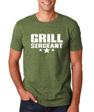 "Grill Sergeant White mens T Shirt-T Shirts-Gildan-Heather Military Green-S To Fit Chest 36-38"" (91-96cm)-Daataadirect"