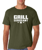 "Grill Sergeant White mens T Shirt-T Shirts-Gildan-Military Green-S To Fit Chest 36-38"" (91-96cm)-Daataadirect"