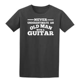 [daataadirect.co.uk]-Guitar Never Underestimate An Old Man Mens T-Shirt-t-shirts-Gildan-Charcoal-S-Daataadirect