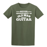 [daataadirect.co.uk]-Guitar Never Underestimate An Old Man Mens T-Shirt-t-shirts-Gildan-Colour-Size-Daataadirect