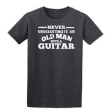 [daataadirect.co.uk]-Guitar Never Underestimate An Old Man Mens T-Shirt-t-shirts-Gildan-Dark Heather-S-Daataadirect