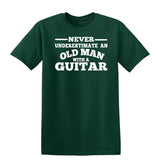 [daataadirect.co.uk]-Guitar Never Underestimate An Old Man Mens T-Shirt-t-shirts-Gildan-Forest Green-S-Daataadirect