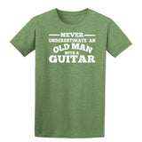 [daataadirect.co.uk]-Guitar Never Underestimate An Old Man Mens T-Shirt-t-shirts-Gildan-Heather Military Green-S-Daataadirect