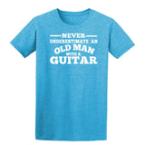 [daataadirect.co.uk]-Guitar Never Underestimate An Old Man Mens T-Shirt-t-shirts-Gildan-Heather Sapphire-S-Daataadirect