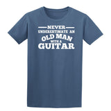 [daataadirect.co.uk]-Guitar Never Underestimate An Old Man Mens T-Shirt-t-shirts-Gildan-Indigo Blue-S-Daataadirect