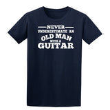 [daataadirect.co.uk]-Guitar Never Underestimate An Old Man Mens T-Shirt-t-shirts-Gildan-Navy Blue-S-Daataadirect
