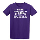 [daataadirect.co.uk]-Guitar Never Underestimate An Old Man Mens T-Shirt-t-shirts-Gildan-Purple-S-Daataadirect