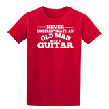 [daataadirect.co.uk]-Guitar Never Underestimate An Old Man Mens T-Shirt-t-shirts-Gildan-Red-S-Daataadirect