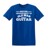 [daataadirect.co.uk]-Guitar Never Underestimate An Old Man Mens T-Shirt-t-shirts-Gildan-Royal Blue-S-Daataadirect