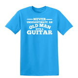 [daataadirect.co.uk]-Guitar Never Underestimate An Old Man Mens T-Shirt-t-shirts-Gildan-Sapphire-S-Daataadirect