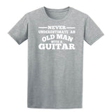 [daataadirect.co.uk]-Guitar Never Underestimate An Old Man Mens T-Shirt-t-shirts-Gildan-Sport Grey (RS)-S-Daataadirect