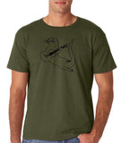 "Guitar seabird Mens T Shirts Black-T Shirts-Gildan-Military Green-S To Fit Chest 36-38"" (91-96cm)-Daataadirect"