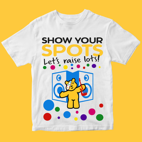 Spotty day Pudsey Bear Guitar Kids T Shirts-Gildan-Daataadirect.co.uk