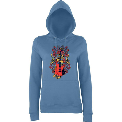 "Guns And Roses Guitar Women Hoodies-Hoodies-AWD-airforce blue-XS UK 8 Euro 32 Bust 30""-Daataadirect"