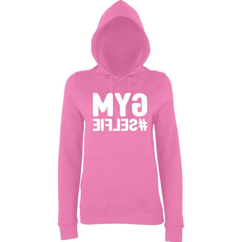 GYM SELFIE Women Hoodies White-AWD-Daataadirect.co.uk