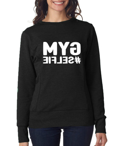 GYM SELFIE Womens Sweat Shirts White-ANVIL-Daataadirect.co.uk