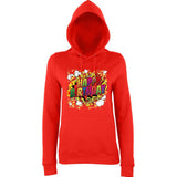 "Happy Birthday Party Colorful Women Hoodies-Hoodies-AWD-Fire Red-XS UK 8 Euro 32 Bust 30""-Daataadirect"