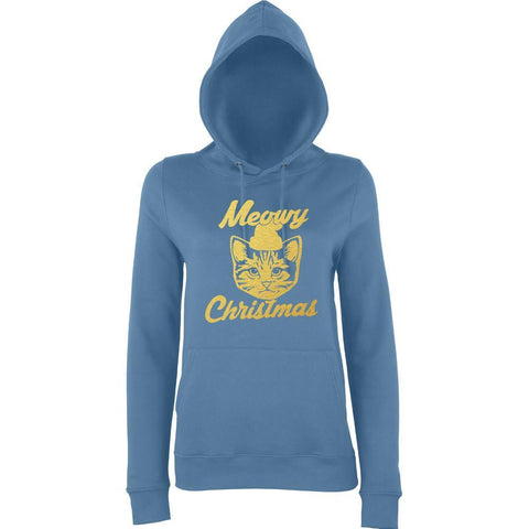 "Happy Christmas Merry Cheistmas Cat Women Hoodies Gold-Hoodies-AWD-airforce blue-XS UK 8 Euro 32 Bust 30""-Daataadirect"