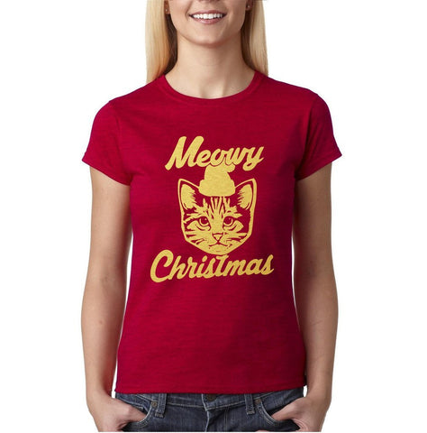 Happy Christmas Merry Christmas Cat Women T Shirts Gold-Daataadirect