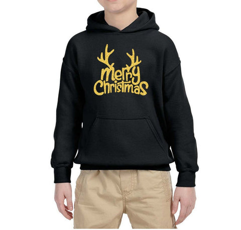 Happy Christmas Merry Christmas Kids Hoodie Gold-Hoodies-Gildan-Black-YS (5-6 Year)-Daataadirect