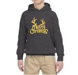 Happy Christmas Merry Christmas Kids Hoodie Gold-Hoodies-Gildan-Dark Heather-YS (5-6 Year)-Daataadirect