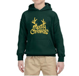Happy Christmas Merry Christmas Kids Hoodie Gold-Hoodies-Gildan-Forest Green-YS (5-6 Year)-Daataadirect
