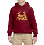 Happy Christmas Merry Christmas Kids Hoodie Gold-Hoodies-Gildan-Garnet-YS (5-6 Year)-Daataadirect