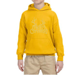 Happy Christmas Merry Christmas Kids Hoodie Gold-Hoodies-Gildan-Gold-YS (5-6 Year)-Daataadirect