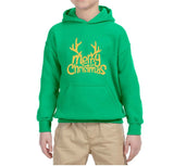 Happy Christmas Merry Christmas Kids Hoodie Gold-Hoodies-Gildan-Irish Green-YS (5-6 Year)-Daataadirect