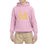 Happy Christmas Merry Christmas Kids Hoodie Gold-Hoodies-Gildan-Light Pink-YS (5-6 Year)-Daataadirect