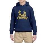 Happy Christmas Merry Christmas Kids Hoodie Gold-Hoodies-Gildan-Navy-YS (5-6 Year)-Daataadirect