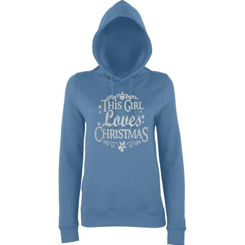 "Happy Christmas This Girl Loves Christmas Women Hoodies Silver-Hoodies-AWD-airforce blue-XS UK 8 Euro 32 Bust 30""-Daataadirect"