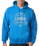 "Happy Christmas This Guy Loves Christmas Men Hoodies Silver-Hoodies-Gildan-Antique Sapphire-S To Fit Chest 36-38"" (91-96cm)-Daataadirect"